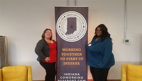Pictured Left to Right: Gary Community Builder Jessica Renslow and Manager of The Stage Small Business Incubator, Gretchen Sipp.