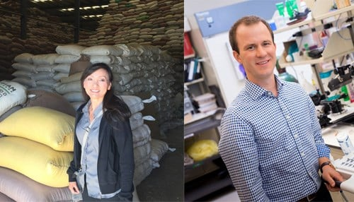 Dr. Yuehwern Yih's (left) project focuses on the medical supply chain, and Dr. Craig Goergen (right) is creating a wearable device to address preeclampsia.