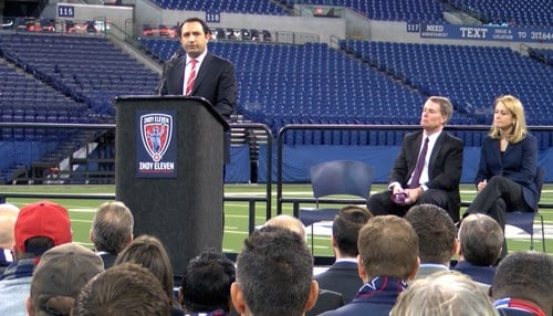 City and soccer officials announced Indy Eleven will play home games in 2018 at Lucas Oil Stadium in Indianapolis.