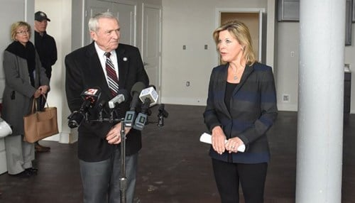 Fort Wayne Mayor Tom Henry received a tour of the project from RealAmerica Companies CEO Ronda Weybright. (photo courtesy city of Fort Wayne)