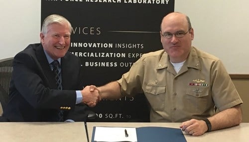 Wright Brothers Institute Director Les McFawn (left) and NSWC Crane Commanding Officer Capt. Mark Oesterreich (photo courtesy NSWC Crane)