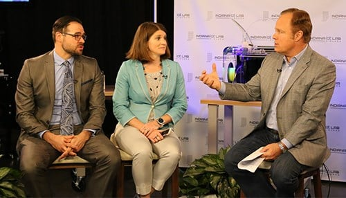 Steve Loser (left) and Julie Alano joined Gerry Dick during the Fishers Town Hall edition of Inside INdiana Business Television.