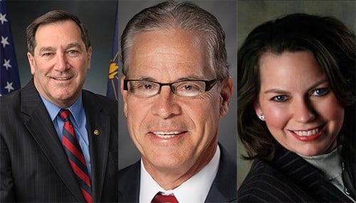 (L to R) Joe Donnelly, Mike Braun, and Lucy Brenton