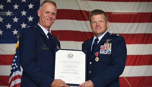 Col. Gates (right) became vice commander in 2015. (photo courtesy Grissom Air Reserve Base)