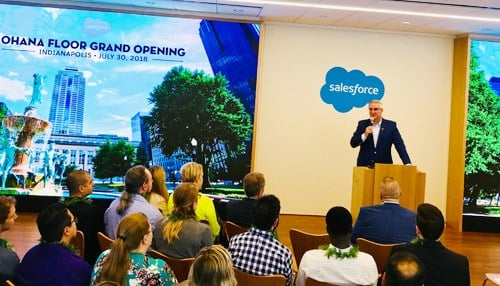 "Governor Eric Holcomb (pictured at the podium) was among the dignitaries in attendance at the grand opening of the Salesforce ""Ohana Floor"" grand opening."
