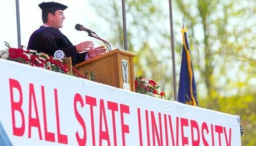 (Image of Papa John's founder John Schnatter delivering the 2015 Spring Commencement Address courtesy of Ball State University.)