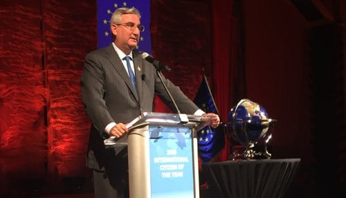 Holcomb is the 32nd recipient of the award.
