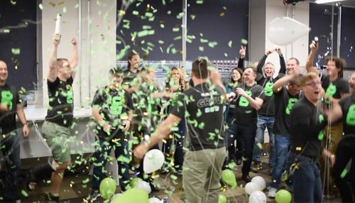 Greenlight Guru employees celebrate a product launch.