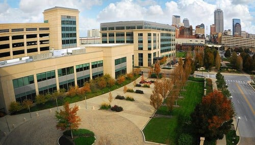 The Rolls-Royce campus in Indianapolis is located on the south side of the city's downtown.