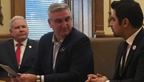 (Image courtesy of WTC Indianapolis) Fahad Al Gergawi, pictured right next to Indiana Secretary of Commerce Jim Schellinger and Governor Eric Holcomb, met with business and economic leaders in Indianapolis.