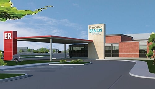 Franciscan Beacon Hospital rendering (courtesy of Anderson Mikos Architects)