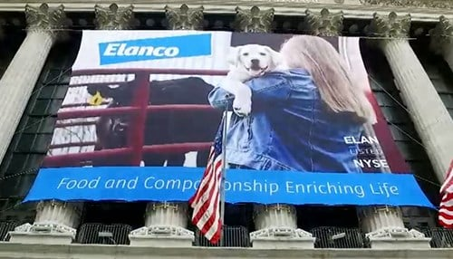 Elanco was front and center Monday at the New York Stock Exchange. (photo courtesy NYSE)