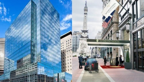 (Renderings of plans for the former AT&T building [left] and the Illinois Building [right] courtesy of Keystone Realty Group.)