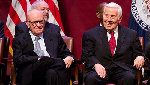 (L to R) Lee Hamilton and Richard Lugar (photo courtesy of Indiana University)