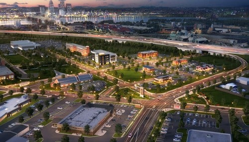 (Jeffersonville Gateway Development rendering courtesy of Hogan Real Estate)