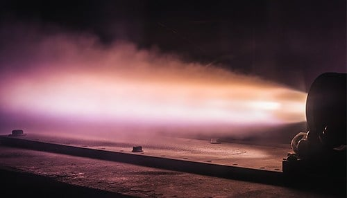 A test fire by Adranos of its high-performance, solid propellant for long-range missile and space launch systems. (photo courtesy of Adranos)