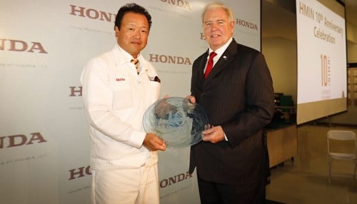 (Image courtesy of the Indiana Economic Development Corp.) Pictured left-to-right: Honda Manufacturing of Indiana LLC President Isao Matsuzaki, Indiana Secretary of Commerce Jim Schellinger