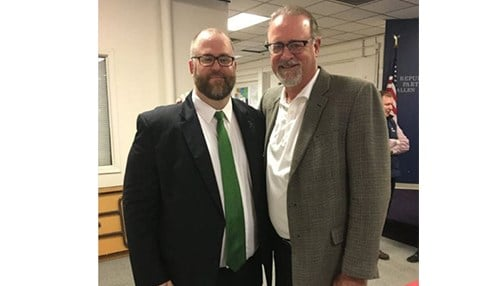 Justin Busch (left) will fill the remainder of David Long's (right) term in the Senate. (photo courtesy of our partners at WPTA-TV)
