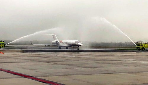 The first international flight landed at the airport Sunday. (photo courtesy Gary/Chicago International Airport)