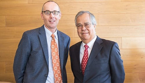 IUPUI School of Science dean Simon Rhodes, former dean Bart Ng