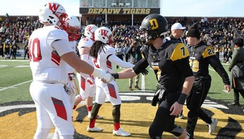(Image courtesy of DePauw University.) The teams have been squaring off for posession of the Monon Bell trophy since 1936.