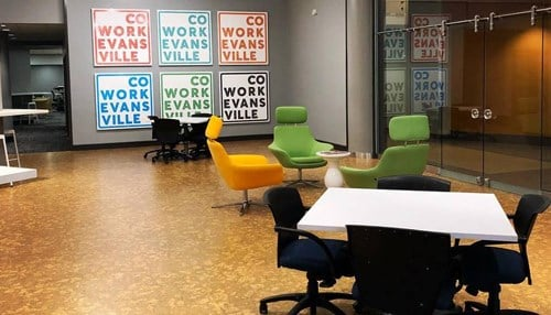 Cowork Evansville is located at Innovation Pointe in downtown Evansville.