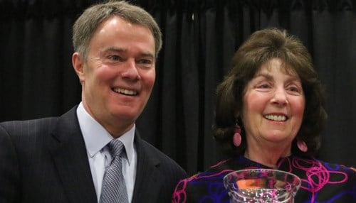 (Image of Indianapolis Mayor Joe Hogsett and Marianne Glick courtesy of the city of Indianapolis.)