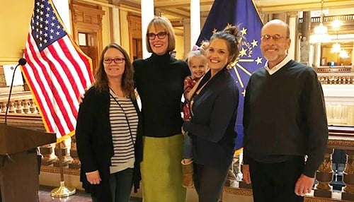 Officials from the Main Street organization in Fairmount joined Lt. Governor Suzanne Crouch for the announcement. (photo courtesy of OCRA)