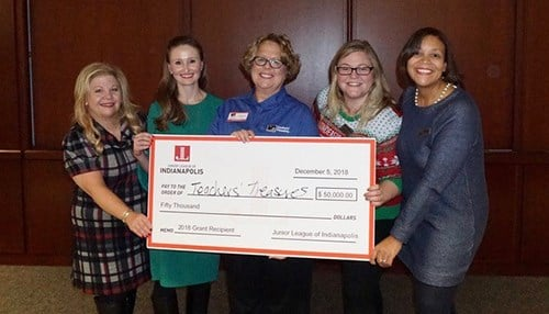 L to R: Stacy Payne Miller, JLI president; Jan Need, JLI grants chair; Margaret Sheehan, Teachers' Treasures executive director; Maddie Kellner, JLI vice president of community; Patrice Dawson, JLI president-elect