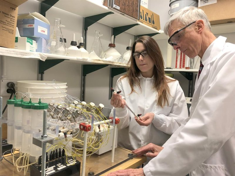 Ladisch and Purdue PhD student Jessica Zuponcic (left) say the instrument could catch elusive bacteria that sneak through current methods.