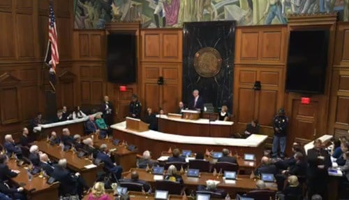 Holcomb delivered the address Tuesday at the Statehouse.
