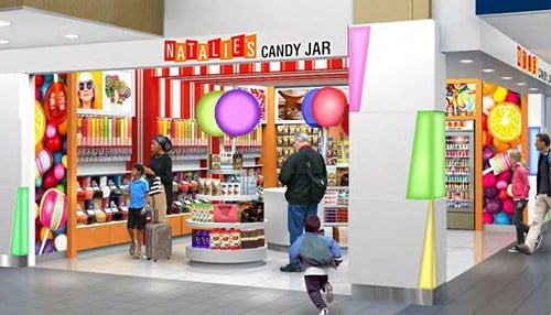 Natalie's Candy Jar is one of the existing local vendors that will expand its offerings at the airport. (rendering courtesy of Indianapolis International Airport)