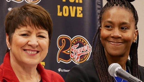 Allison Barber and Tamika Catchings (photo courtesy of the Indiana Fever)