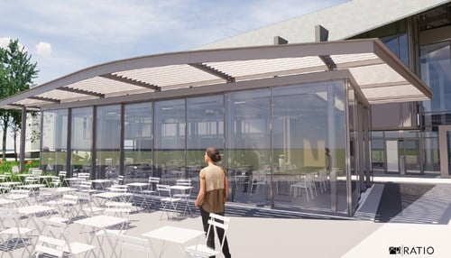 The school says the pavilion will have seating for up to 50 people for outdoor dining and gatherings.