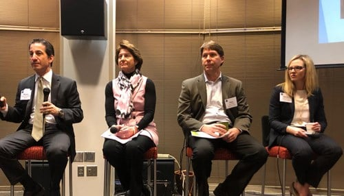The panel included (L-R) Kostas Poulakidas of Taft Stettinius & Hollister LLP, Bedel, Tom Peck of Hageman Group and Laurie Schultz of Avenue Development. (Picture: Adam Campagna)