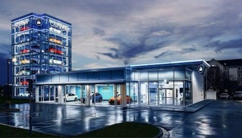 Carvana opened its Car Vending Machine facility in Indianapolis last December. (photo courtesy of Carvana)