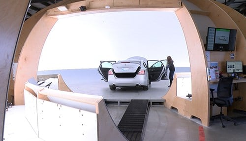 The facility includes a 360-degree studio to photograph all vehicles.