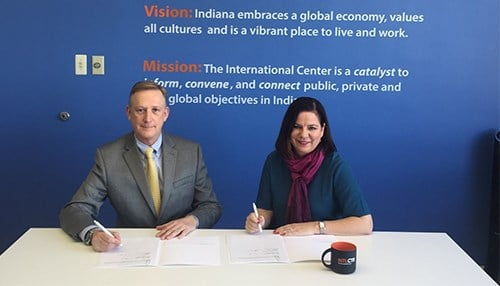 International Center CEO Martin Baier and WTC Indy CEO Doris Anne Sadler signed the MOU earlier this month.