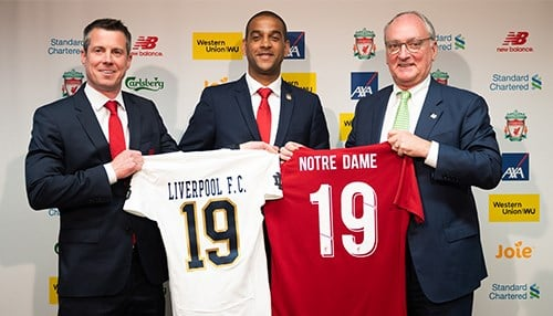 (L to R) Liverpool Football Club Managing Director/Chief Commercial Officer Billy Hogan, LFC Legend Phil Babb, Notre Dame Athletic Director Jack Swarbrick.