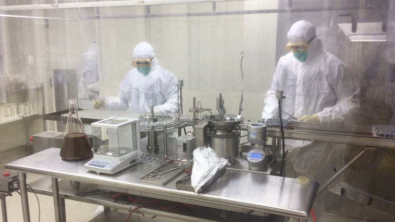 FAST employees manufacture the injectable, which works with a device, to measure blood volume.