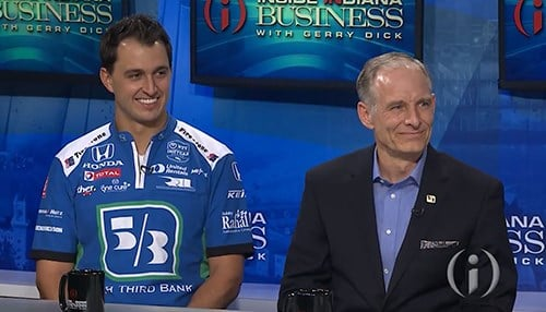Graham Rahal (left) and Fifth-Third Bank Regional Vice President Kevin Hipskind (right).