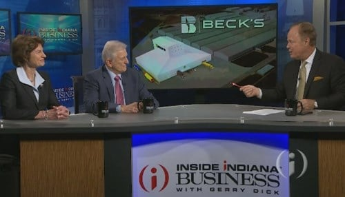 Beck's CEO Sonny Beck and Indiana Economic Development Corp. President Elaine Bedel