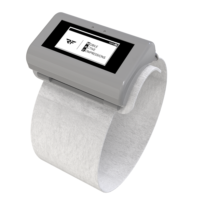 A device is attached to each disposable sleeve to track patients' mobility data.