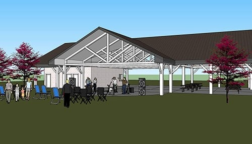 The projects include a new amphitheater in Ossian. (rendering courtesy of Ossian Parks & Recreation)