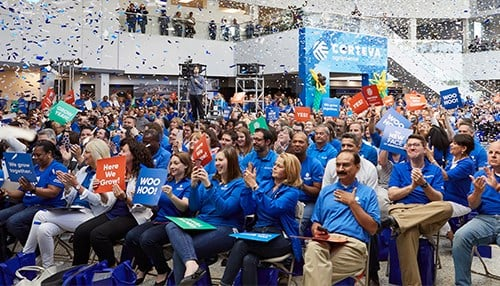 Corteva celebrated the spin-off with Indianapolis employees. (photo provided)