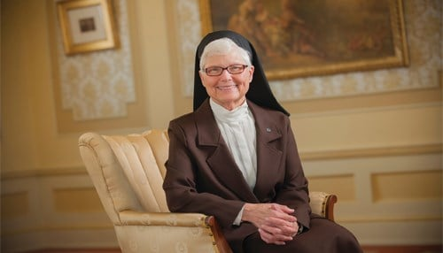 Sister Elise Kriss is stepping down as president of the University St. Francis in June 2020