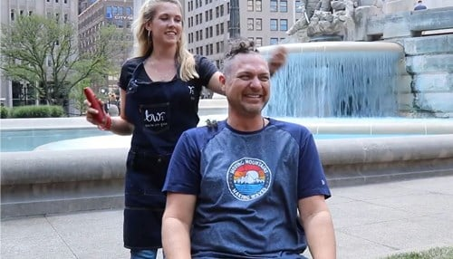 PFL's Craig Boas shaved his head as part of the charity effort. (photo courtesy of Indy Tech Gives)
