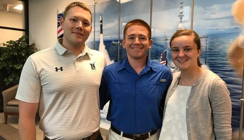 Pictured L-R:  Midshipmen Micheal Waldrop, Will Vincent, and Emily Bellavance. (photo courtesy Crane NSWC)