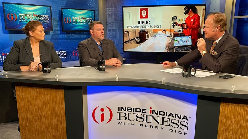 (from left) Carrie Shaver and Bill Fields recently appeared on Inside INdiana Business with Gerry Dick. (IIB Photo/Joe Ulery)