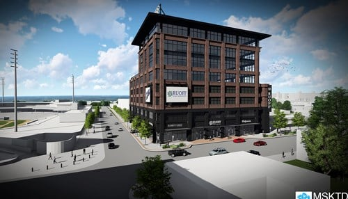 Artist rendering of proposed headquarters for Ruoff Home Mortgage in Fort Wayne.